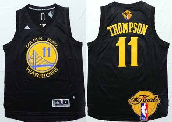 Men's Golden State Warriors #11 Klay Thompson Black With Gold 2016 The NBA Finals Patch Jersey