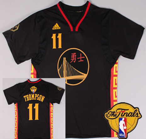 Men's Golden State Warriors #11 Klay Thompson Chinese Black Fashion 2016 The NBA Finals Patch Jersey