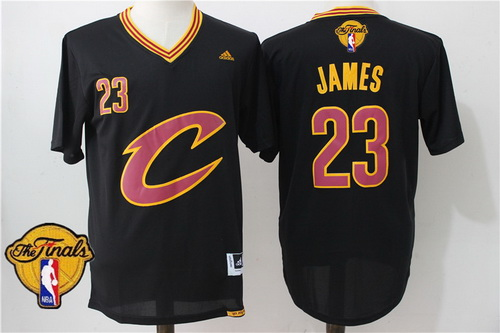 Men's Cleveland Cavaliers LeBron James #23 2016 The NBA Finals Patch New Black Short-Sleeved Jersey