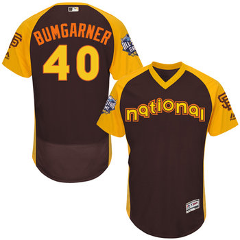 Madison Bumgarner Brown 2016 All-Star Jersey - Men's National League San Francisco Giants #40 Flex Base Majestic MLB Collection Jersey