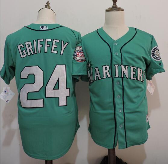 the latest 66ac7 9c871 Men's Seattle Mariners #24 Ken Griffey Jr. Green Cooperstown ...