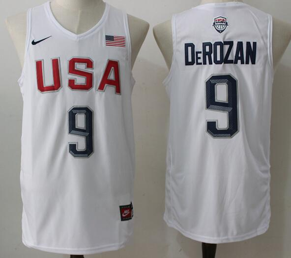 2016 Olympics Team USA Men's #9 DeMar DeRozan White Stitched NBA Nike Swingman Jersey
