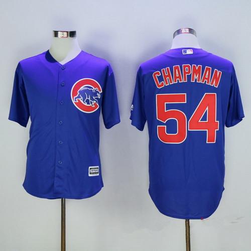 outlet store fc9d8 31f41 Men's Chicago Cubs #54 Aroldis Chapman Blue Stitched MLB ...
