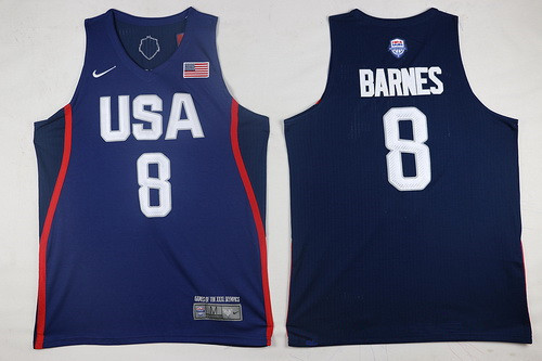2016 Olympics Team USA Men's #8 Harrison Barnes Navy Blue Stitched NBA Nike Swingman Jersey