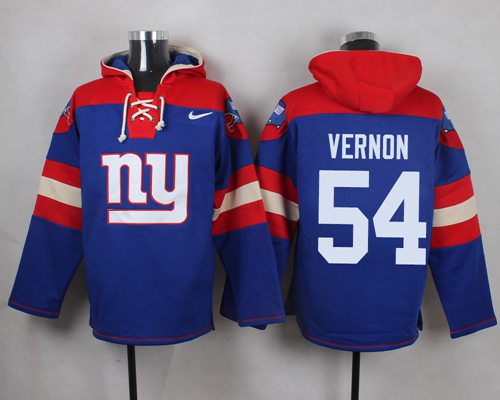 Nike Giants #54 Olivier Vernon Royal Blue Player Pullover NFL Hoodie