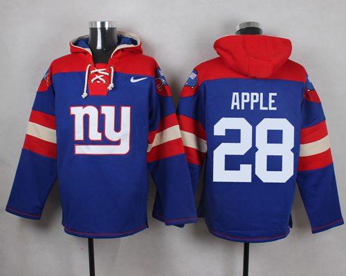 Nike Giants #28 Eli Apple Royal Blue Player Pullover NFL Hoodie