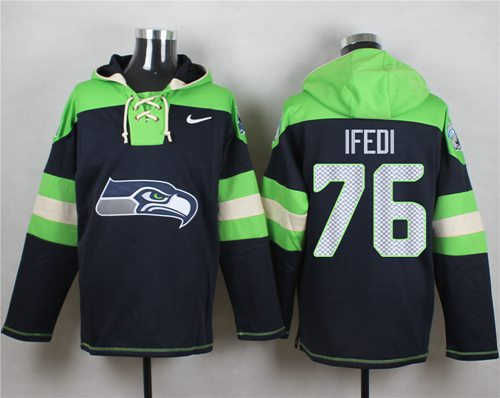 Nike Seahawks #76 Germain Ifedi Navy Blue Player Pullover NFL Hoodie