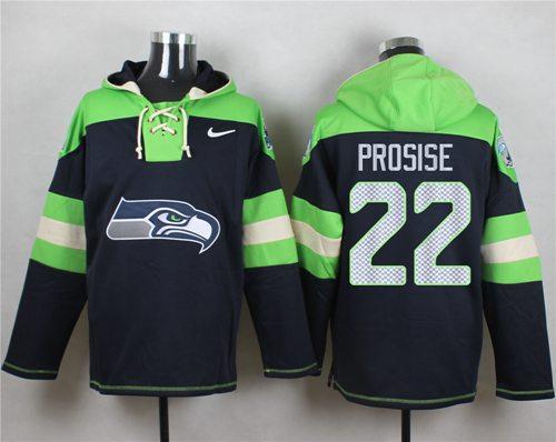 Nike Seahawks #22 C. J. Prosise Navy Blue Player Pullover NFL Hoodie