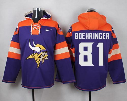 Nike Vikings #81 Moritz Boehringer Purple Player Pullover NFL Hoodie
