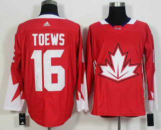 Men's Team Canada #16 Jonathan Toews Red 2016 World Cup of Hockey Game Jersey