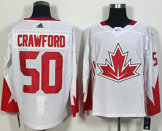Men's Team Canada #50 Corey Crawford White 2016 World Cup of Hockey Game Jersey