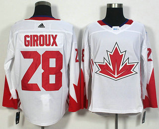 Men's Team Canada #28 Claude Giroux White 2016 World Cup of Hockey Game Jersey