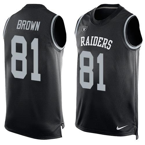 Men's Oakland Raiders 81 Tim Brown Nike Black Printed Player Name & Number Tank Top