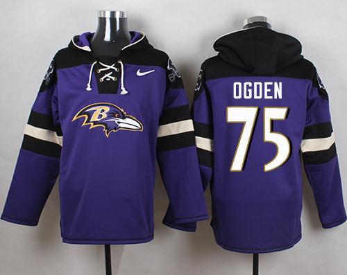 Nike Ravens #75 Jonathan Ogden Purple Player Pullover NFL Hoodie