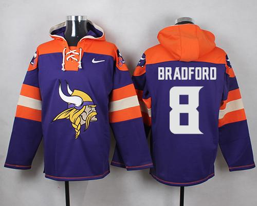 Nike Vikings #8 Sam Bradford Purple Player Pullover NFL Hoodie