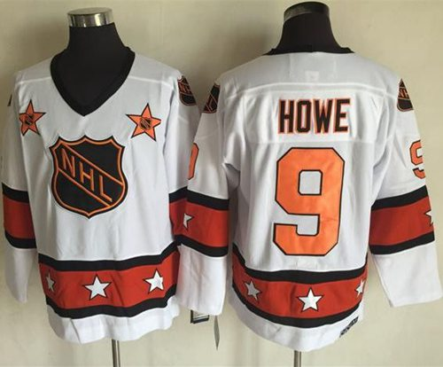1972-81 NHL All-Star #9 Gordie Howe White CCM Throwback Stitched Vintage Hockey Jersey
