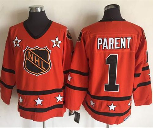 1972-81 NHL All-Star #1 Bernie Parent Orange CCM Throwback Stitched Vintage Hockey Jersey