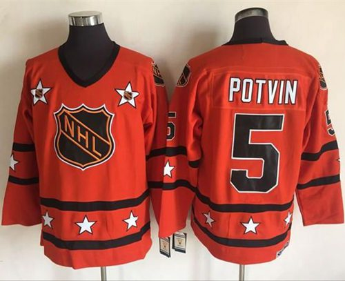1972-81 NHL All-Star #5 Denis Potvin Orange CCM Throwback Stitched Vintage Hockey Jersey