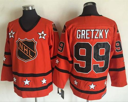 1972-81 NHL All-Star #99 Wayne Gretzky Orange CCM Throwback Stitched Vintage Hockey Jersey