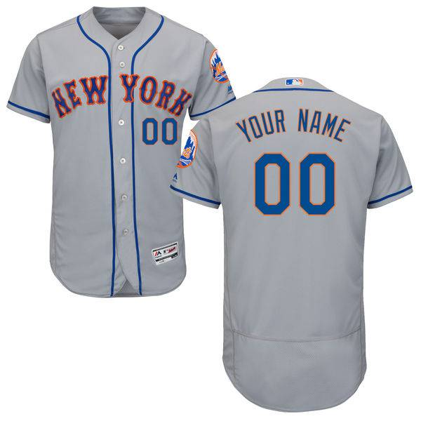 Mens New York Mets Grey Customized Flexbase Majestic MLB Collection Jersey