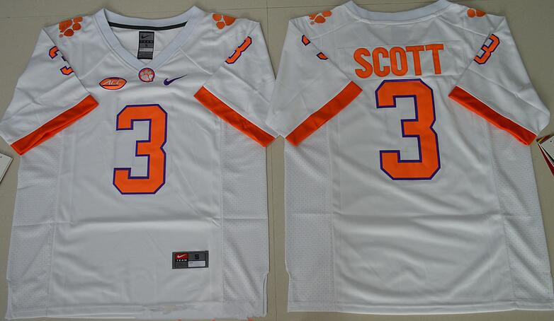 Men's Clemson Tigers #3 Artavis Scott White Stitched NCAA Nike 2016 College Football Jersey