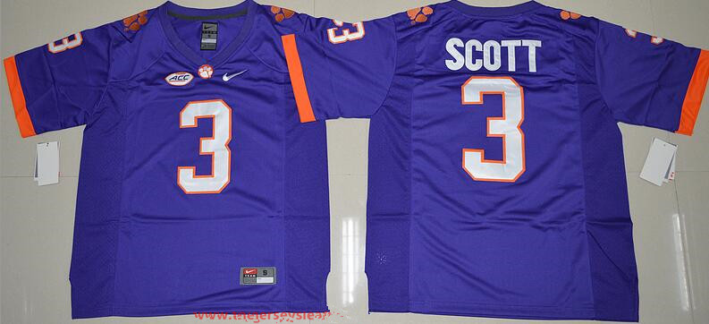 Men's Clemson Tigers # Artavis Scott Purple Stitched NCAA Nike 2016 College Football Jersey