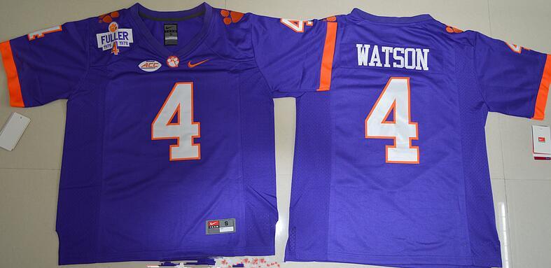 Men's Clemson Tigers #4 Deshaun Watson Purple Stitched NCAA Nike 2016 College Football Jersey
