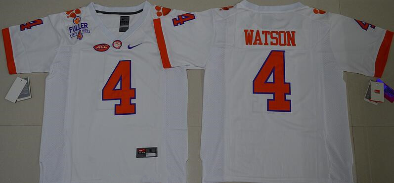 Men's Clemson Tigers #4 Deshaun Watson White Stitched NCAA Nike 2016 College Football Jersey