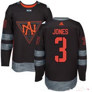Men's North America Hockey #3 Seth Jones Black 2016 World Cup of Hockey Stitched adidas WCH Game Jersey