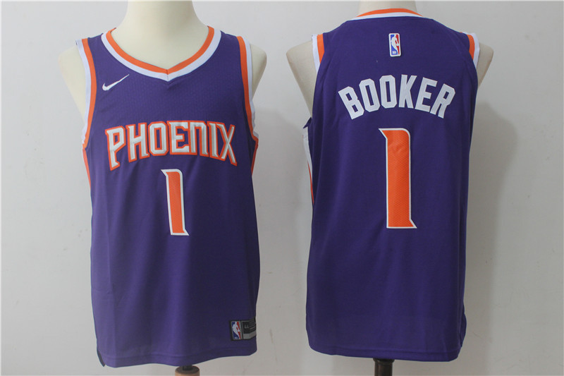 Men's Phoenix Suns #1 Devin Booker Purple 2017-2018 Nike Swingman Stitched NBA Jersey
