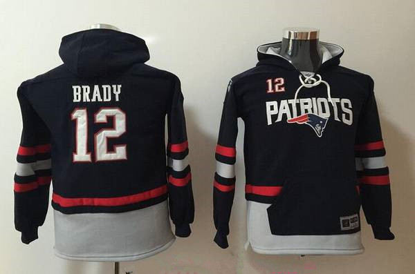 Youth New England Patriots #12 Tom Brady NEW Navy Blue Pocket Stitched NFL Pullover Hoodie
