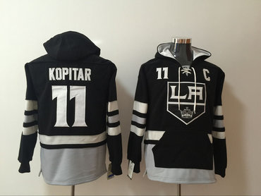 Men's Los Angeles Kings #11 Anze Kopitar NEW Black Pocket Stitched NHL Old Time Hockey Hoodie