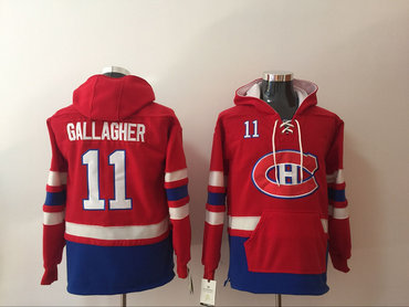 Men's Montreal Canadiens #11 Brendan Gallagher NEW Red Pocket Stitched NHL Old Time Hockey Hoodie