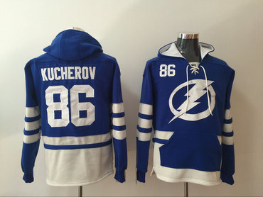 Men's Tampa Bay Lightning #86 Nikita Kucherov Royal Blue Pocket Stitched NHL Old Time Hockey Pullover Hoodie