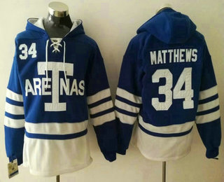 Men's Toronto Maple Leafs #34 Auston Matthews Royal Blue Arenas Stitched NHL Old Time Hockey Hoodie