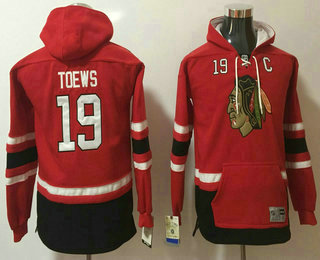 Youth Chicago Blackhawks #19 Jonathan Toews NEW Red Stitched NHL Old Tim Hockey Hoodie
