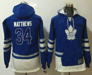 Youth Toronto Maple Leafs #34 Auston Matthews 2016 Royal Blue Throwback Pocket Stitched NHL Old Time Hockey Hoodie