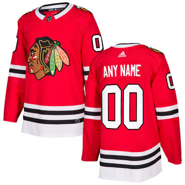 Custom Men's Adidas Chicago Blackhawks Red Home Authentic Stitched NHL Jersey