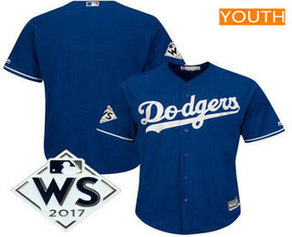Youth Los Angeles Dodgers Majestic Royal 2017 World Series Patch Cool Base Team Jersey