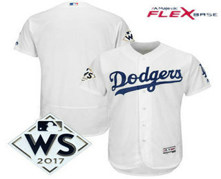 Men's Los Angeles Dodgers Majestic White 2017 World Series Patch Flex Base Team Jersey