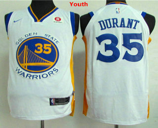Youth Golden State Warriors #35 Kevin Durant White 2017-2018 Nike Swingman Rakuten Stitched NBA Jersey