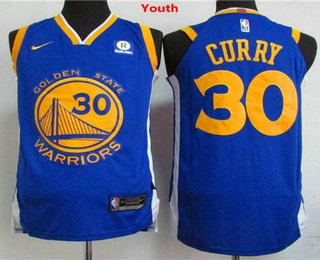 Youth Golden State Warriors #30 Stephen Curry Royal Blue 2017-2018 Nike Swingman Rakuten Stitched NBA Jersey
