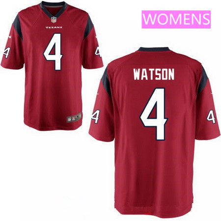 Women's 2017 NFL Draft Houston Texans #4 Deshaun Watson Red Team Color Stitched NFL Nike Game Jersey