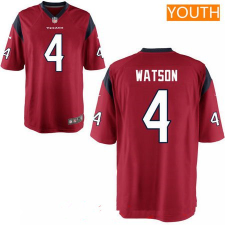 Youth 2017 NFL Draft Houston Texans #4 Deshaun Watson Red Team Color Stitched NFL Nike Game Jersey