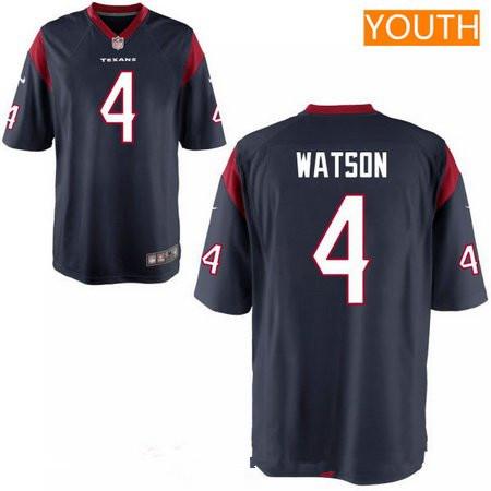 Youth 2017 NFL Draft Houston Texans #4 Deshaun Watson Navy Blue Alternate Stitched NFL Nike Game Jersey