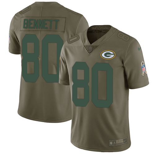 Nike Green Bay Packers #80 Martellus Bennett Olive Men's Stitched NFL Limited 2017 Salute To Service Jersey