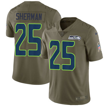 Nike Seattle Seahawks #25 Richard Sherman Olive Men's Stitched NFL Limited 2017 Salute to Service Jersey