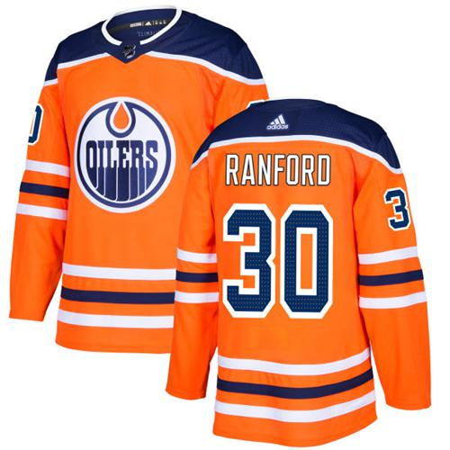 Adidas Edmonton Oilers #30 Bill Ranford Orange Home Authentic Stitched NHL Jersey