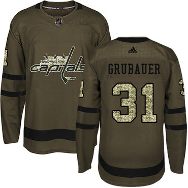 Adidas Capitals #31 Philipp Grubauer Green Salute to Service Stitched Youth NHL Jersey