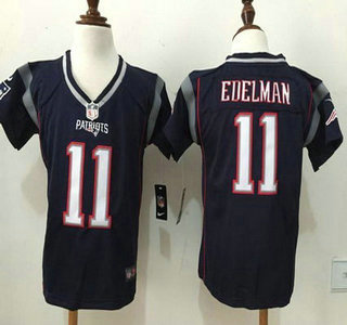 Toddler New England Patriots #11 Julian Edelman Navy Blue Team Color 2015 NFL Nike Game Jersey